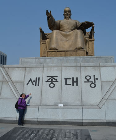 Jacki with King Sejong, the inventor of the Koean Alphabet